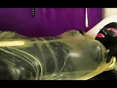 Shiny Latex Catsuit Trans on Black