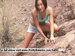 Girl sexy sport climber on the rocks really like to masturbate