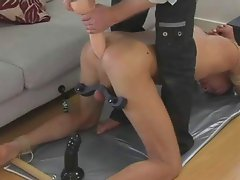 He takes huge dildo deep into his tight asshole