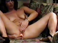 My kinky mom home alone masturbating