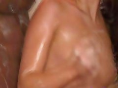 Teen sucks interracial cock during hottest massage