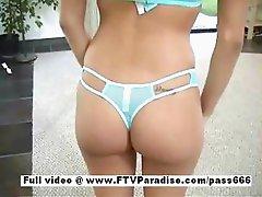 Awesome girl Janelle cute brunette girl trying lingerie