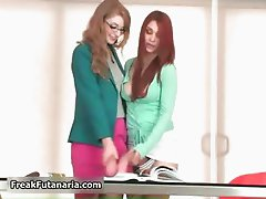 Hot redhead and brunette babes get horny part5