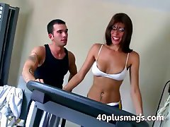 Horny ebony MILF teases gym instructor
