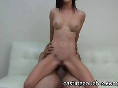 Sexy brunette with big fake tits is sucking like a pro and applies for a job in the porn biz at this casting. She receives a great facial to finish.