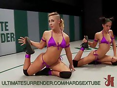These sexy lesbian babes destroy and ravage each other in a brutal wrestling match. These girls get facefucked fisted and made to squirt in front of a