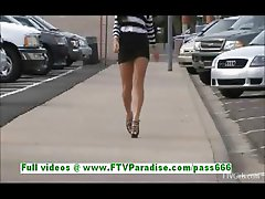 Marletta hot brunette teenage public flashing tits and fingering pussy