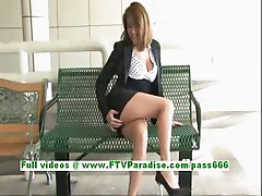 Lidia fun brunette woman public flashing tits and ass and pussy