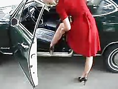 Nylon Teasing FF - Stockings in the Car