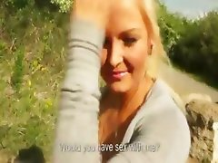 Blonde beauty gets picked during walk in forest