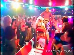 Party blondie gets stripper lapdance at big orgy