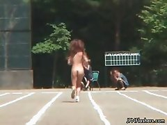 Fit Japanese babe doing a naked gym part3
