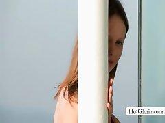 Sensual Gloria exploring her gorgeous body outdoor