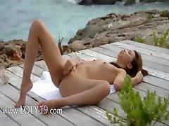 korean angel teasing by the ocean