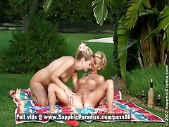 Aneta and Jenny sexy blonde lesbian couple licking pussy in the garden
