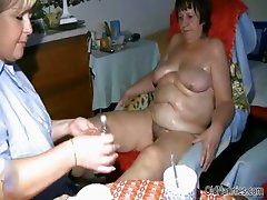 Fat mature whore gets her tits rubbed