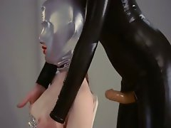neat strapon lesbians in mask playing