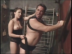Brunette dominates her boyfriend with whip and bondage blowjob and 69