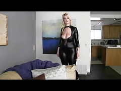 Blonde in black leather. JOI