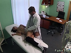 Stressed babe gets pussy fucked by doc on examining table