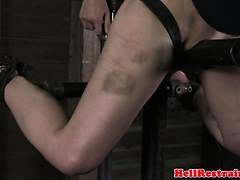 Ball gagged bondage sub punished hard