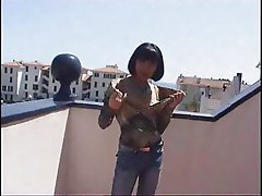 nice asian milf fucks at roof - csm