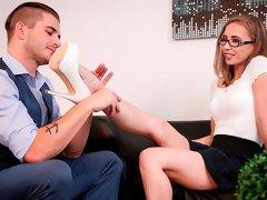 Adorable secretary Norah Nova helps her boss to cum quicker