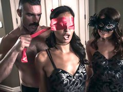 Two brunettes Adria Rae and Emily Willis are pleasing their boss