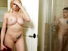Playful big-tit model Briana Banks bangs with a skinny young man