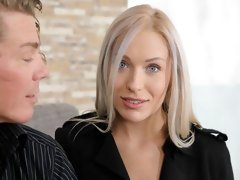 Sex-loving blonde babe Angelika Grace likes dick riding so much
