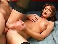 Raunchy redhead shemale sucks on blond dudes hunky fat cock