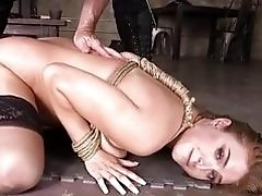 Fat ass slave gagged and fucked by dungeon master BDSM