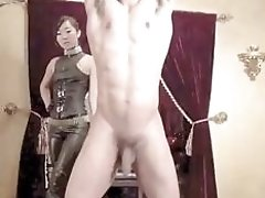 Asian mistress loves ball busting her tied up slave BDSM
