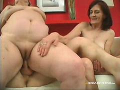 Two Grannies Satisfying Young Cock