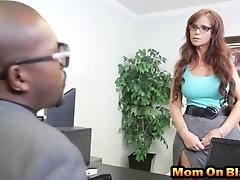 Sexy redhead milf hired by big black cock personal secretary
