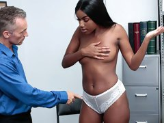 Good-looking busty ebony Ashley Aleigh fucked by a huge white dick
