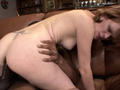 Freckled beauty Allison penetrated by a black rod