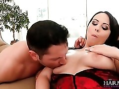 Beautiful Lindy Lane sucks cock in a corset