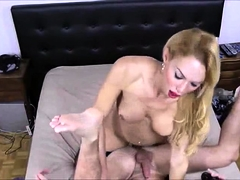 Shemale with small tits fucks guy