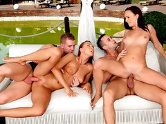 Beauties Morgan Rodriguez and Lana Belle are enjoying their huge dicks