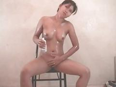Vanessa olied up and ready to get her pussy on fir