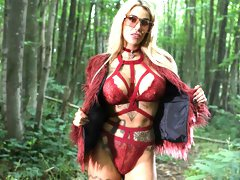 Glamorous inked blonde Alice Judge is having sex in the forest
