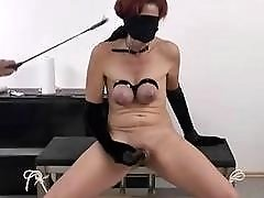 Busty slave got her tits whipped hard by BDSM master