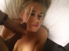 Blonde wife unwanted facial that is huge