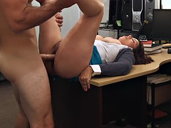 Busty MILF pawns pussy to bail out her hubby from jail