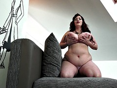Mature fat milf shows off her giant knockers and ass
