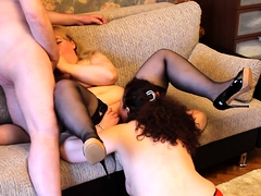 Two naughty mature housewives invite a guy for a threesome