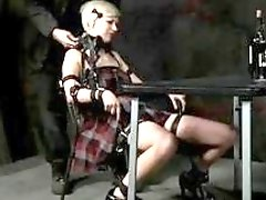 Tied up blonde woman awaits punishment and humiliation BDSM movie