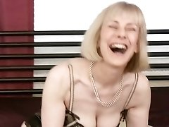 British retro milf undresses and masturbates pussy with vintage sex toy
