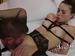 Tied up babe in stockings enjoys pussy licking and fucking